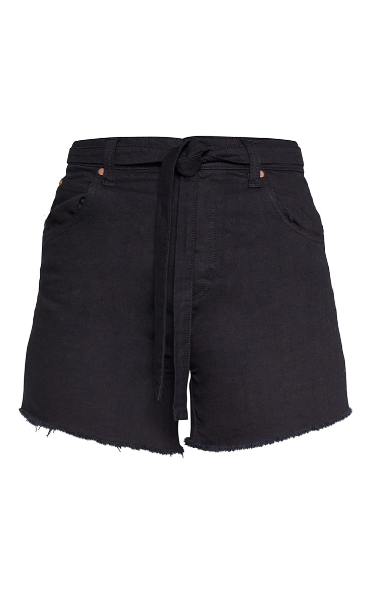 Tall Black Frayed Hem Tie Belt Denim Shorts 3