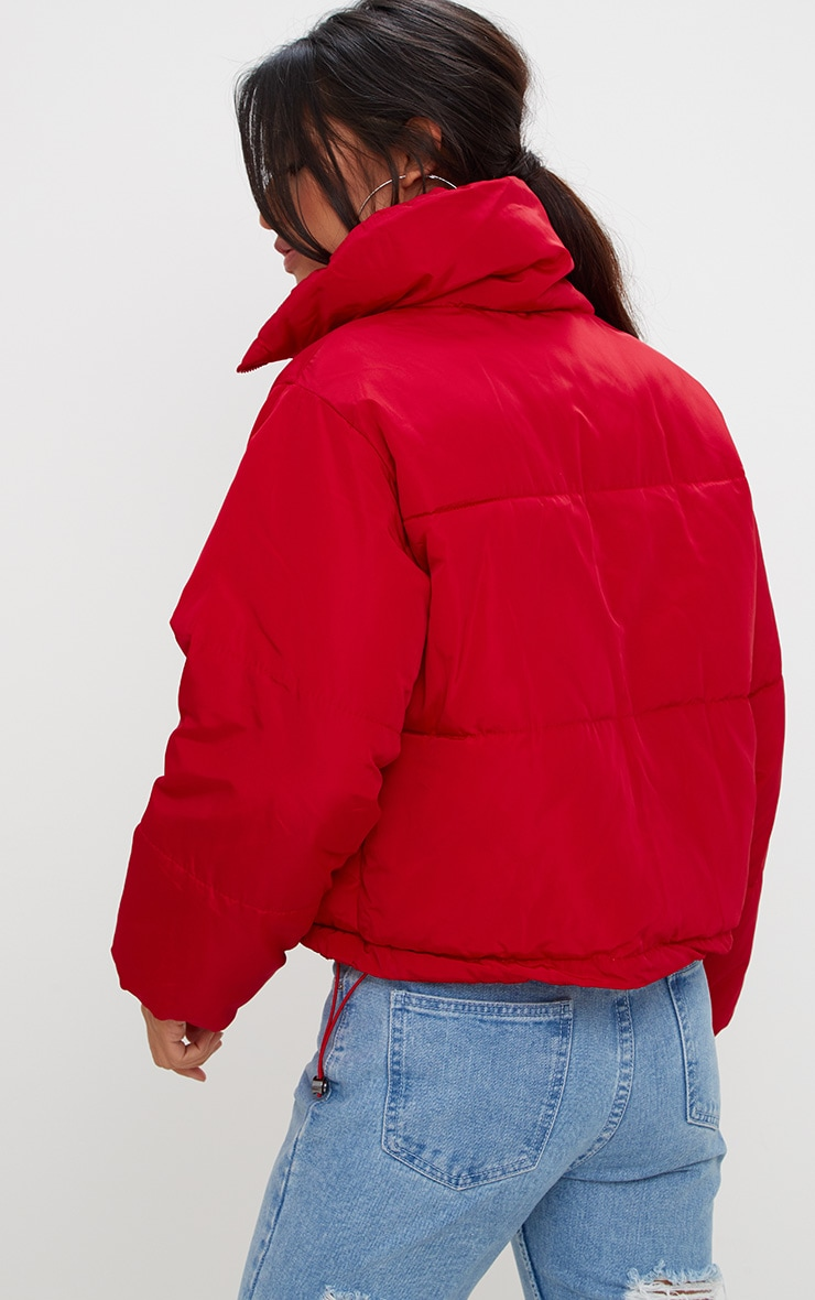 Red Cropped Puffer Jacket 2