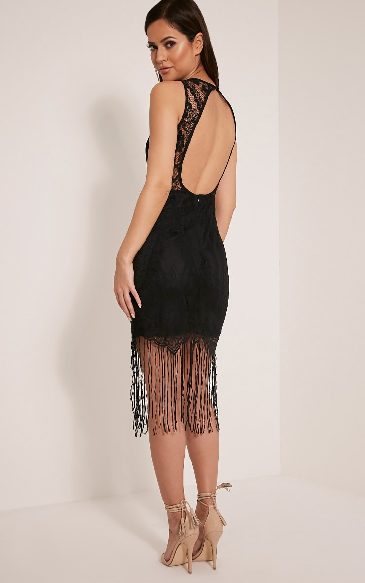Aleesha Black Open Back Lace Tassel Bodycon Dress 5