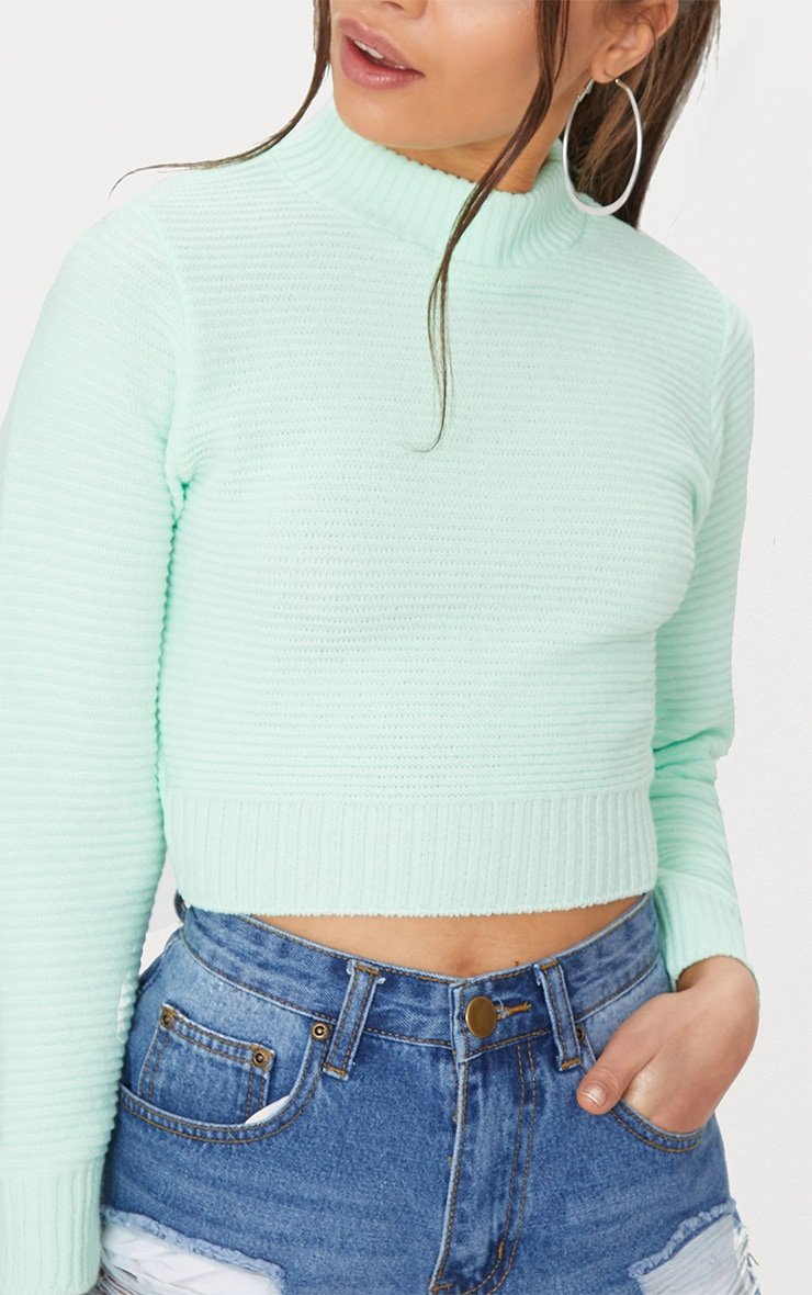 Mint Ribbed Cropped Knitted Jumper 5