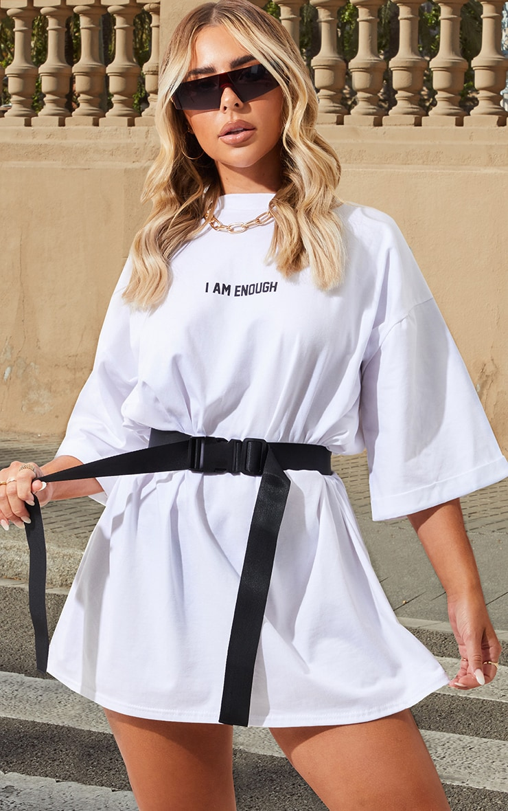 Petite White I Am Enough Oversized Slogan T-Shirt Dress 1