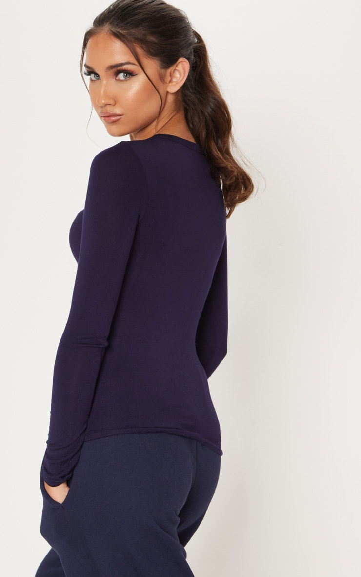 Basic Navy Long Sleeve Fitted T Shirt 2