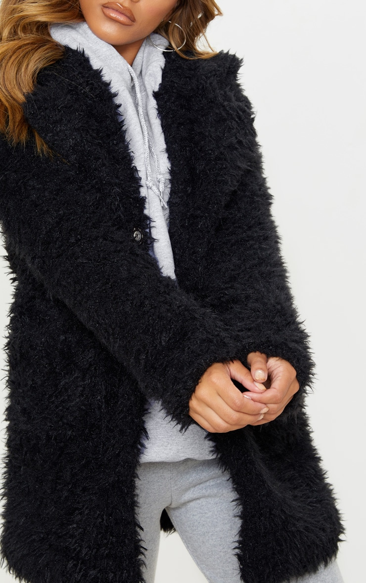 Petite Black Teddy Faux Fur Collar Midi Coat  5
