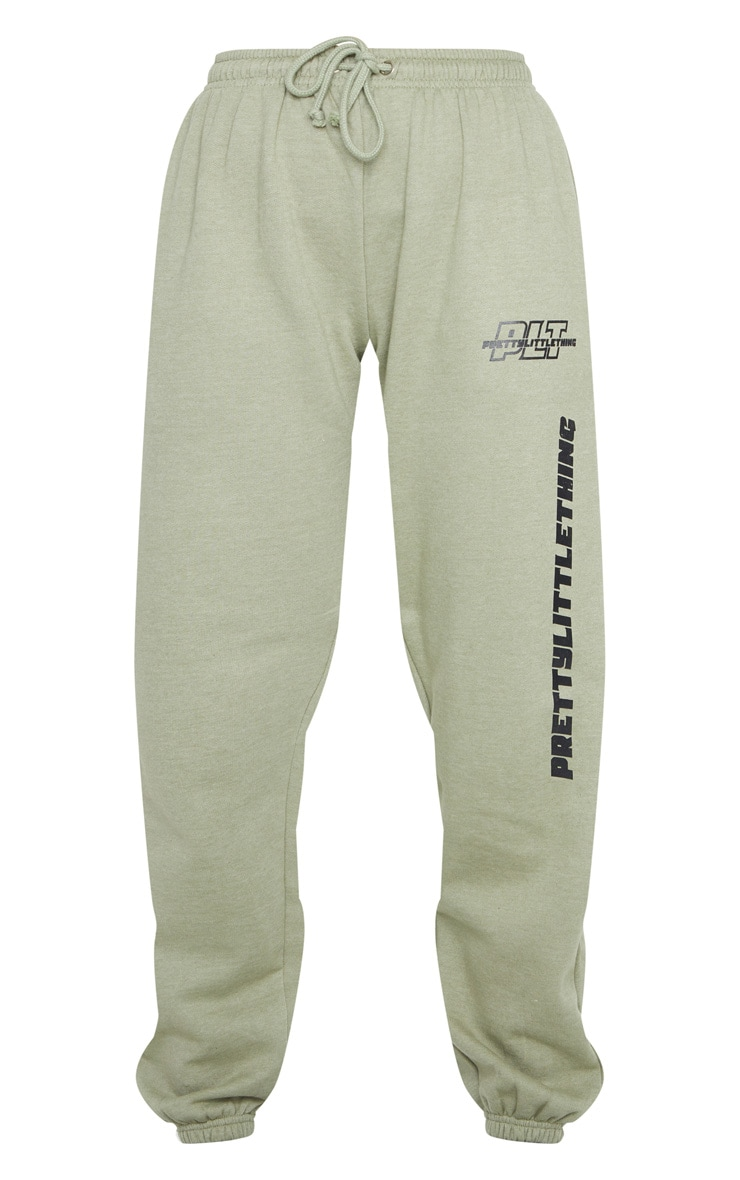 PRETTYLITTLETHING Sage Green Slogan Joggers 5
