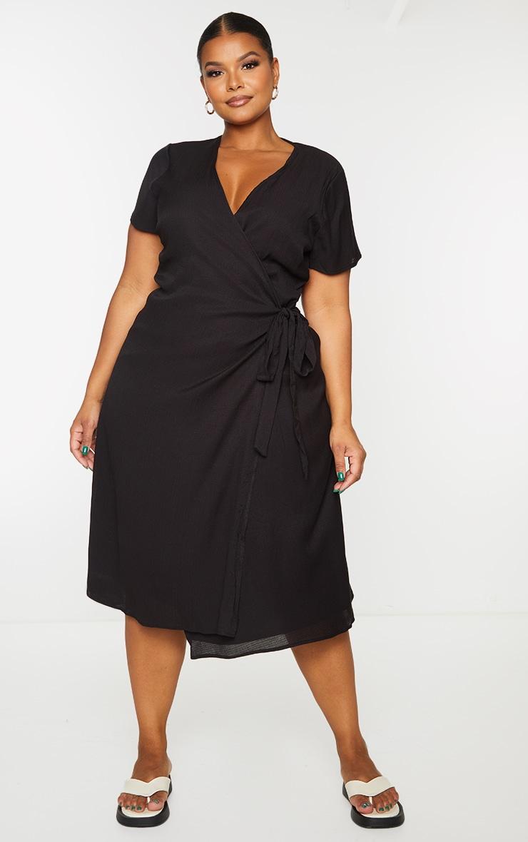 Plus Black Wrap Midi Dress 3