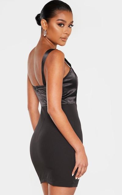 Black Satin Insert Boned Corset Bodycon Dress