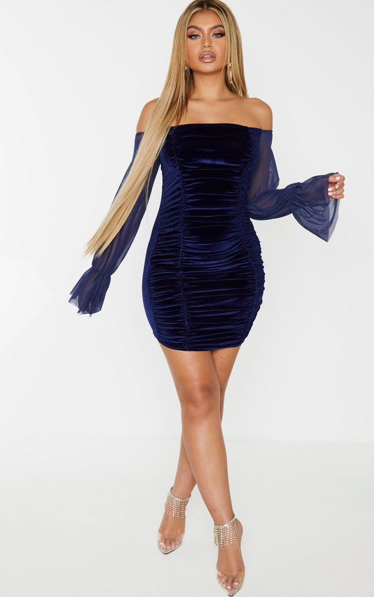 Navy Velvet Ruched Bardot Mesh Sleeve Bodycon Dress 4