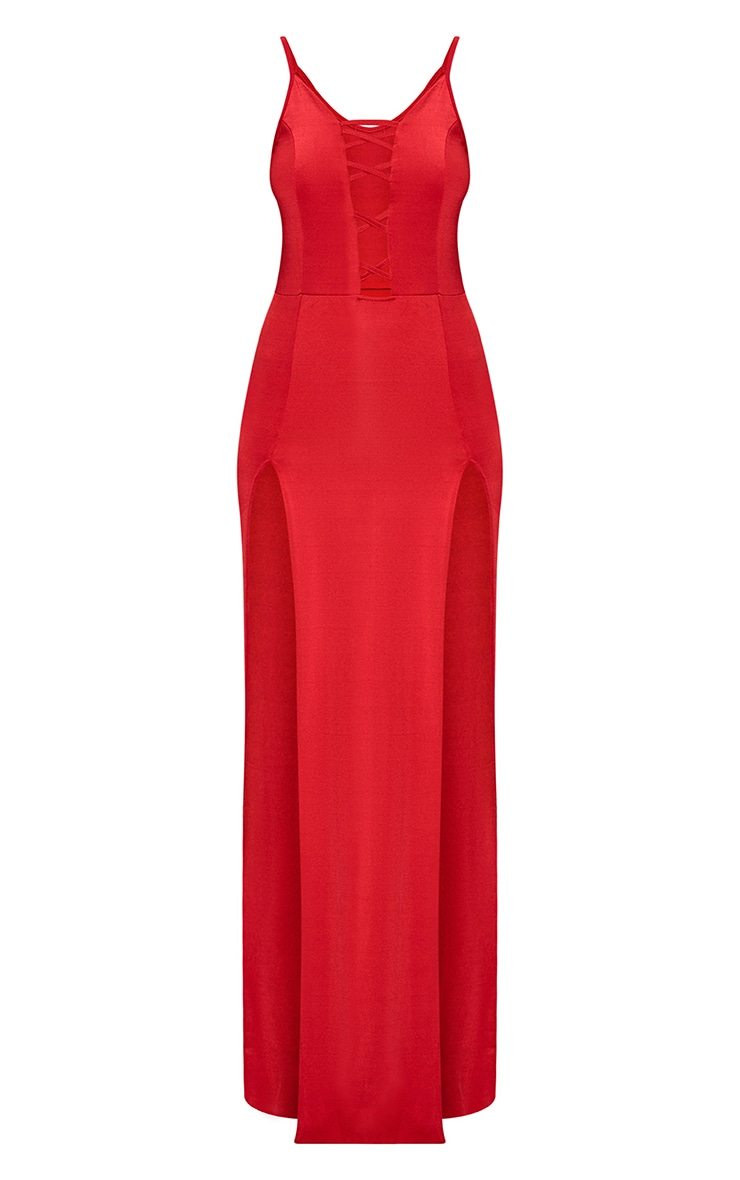Red Slinky Extreme Split Maxi Dress 3