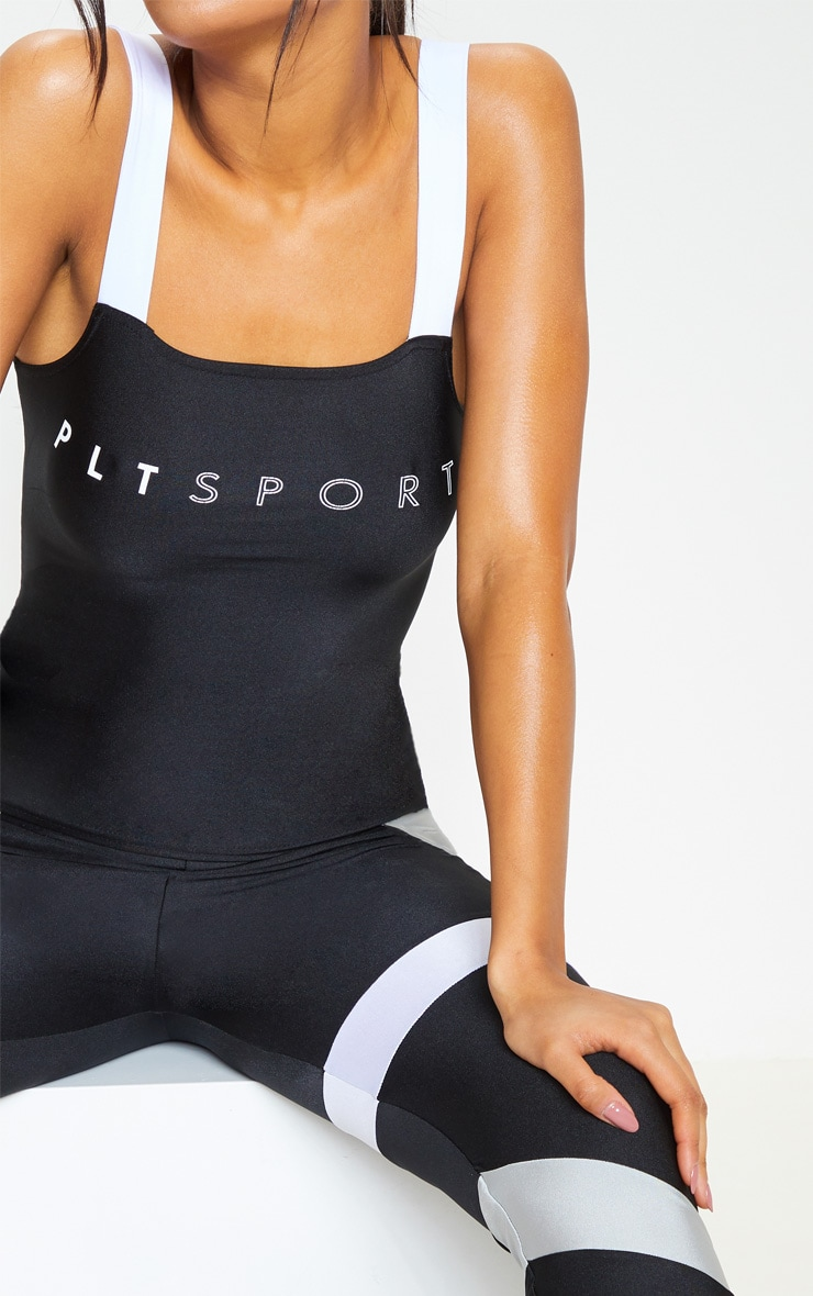 PRETTYLITTLETHING Black Contrast Strap Gym Top 4