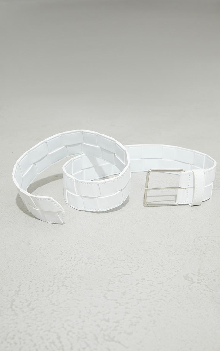 White Woven Chunky Waist Belt 3