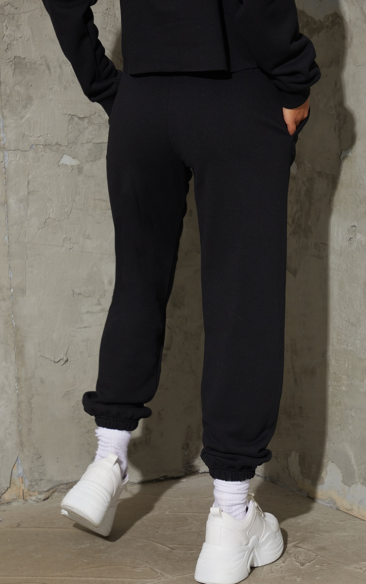 PRETTYLITTLETHING Black Embroidered Slogan Joggers 3