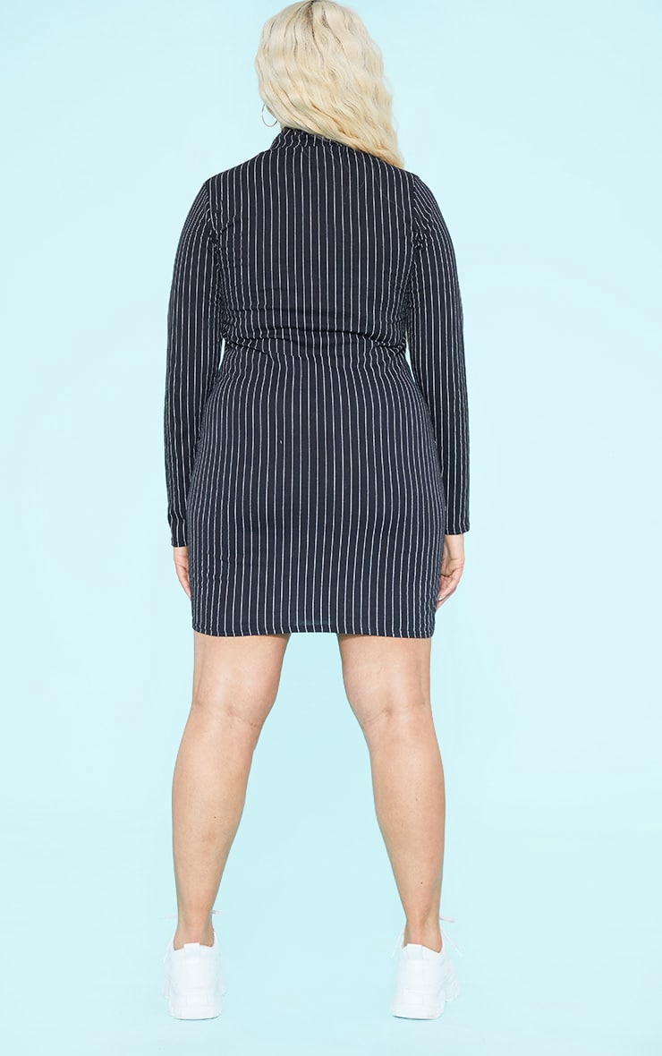 RECYCLED Plus Black Pinstripe Roll Neck Long Sleeve Bodycon Dress 5