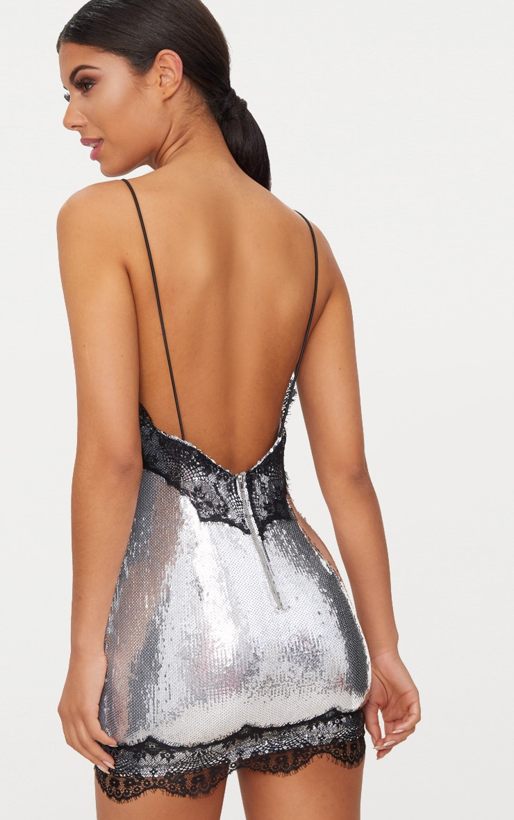 Silver Sequin Lace Trim Bodycon Dress 2