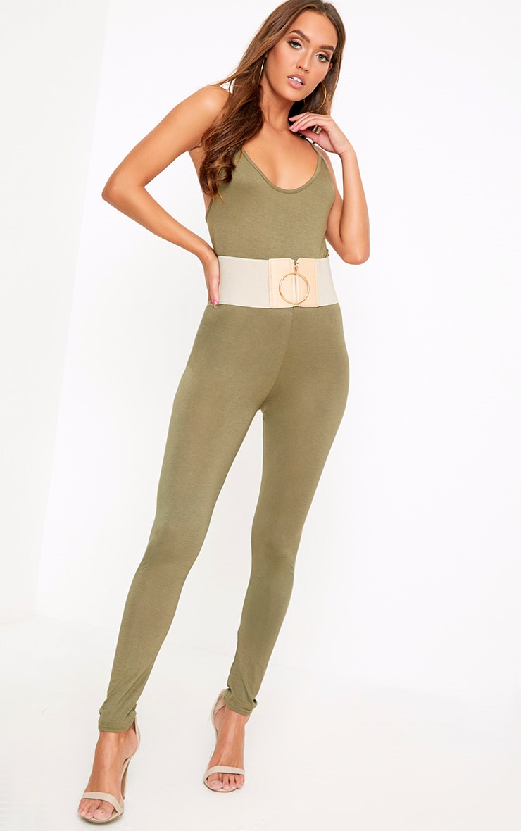 Khlara Khaki Low Back Jersey Jumpsuit 4