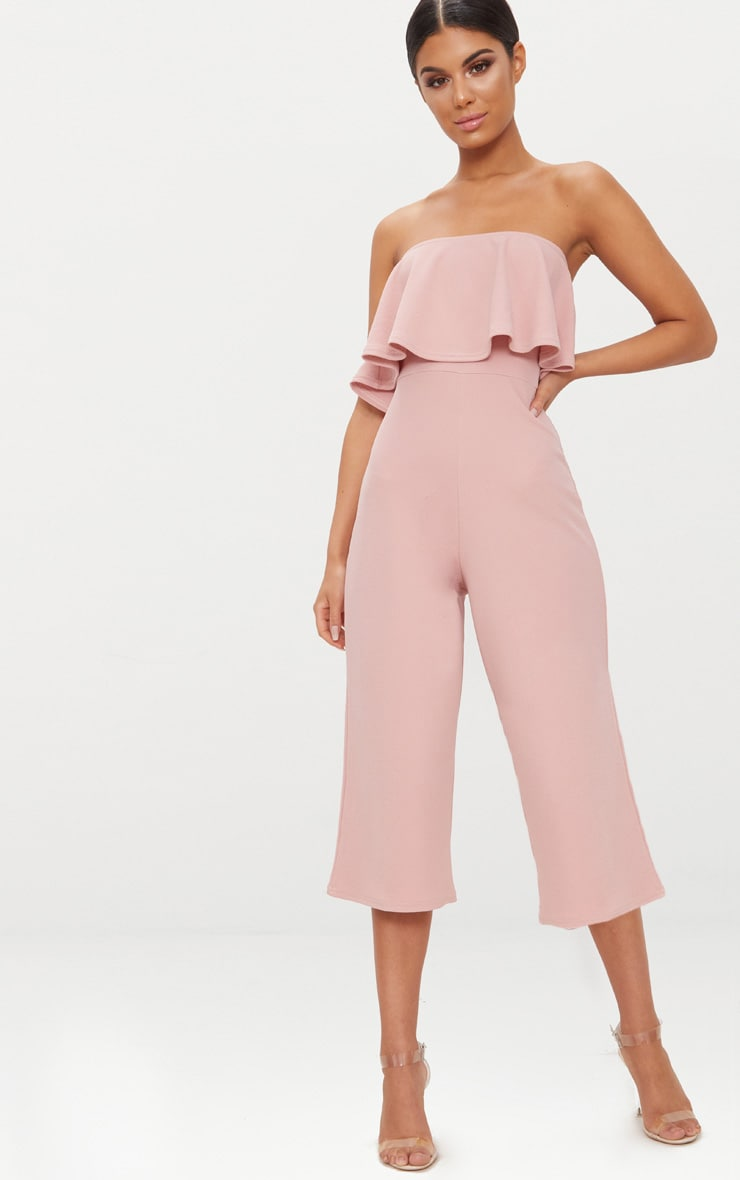Dusty Pink Bardot Double Layer Culotte Jumpsuit 1