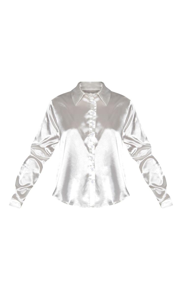 Petite White Satin Shirt 3