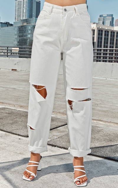 Ecru Slit Knee Straight Leg Jeans
