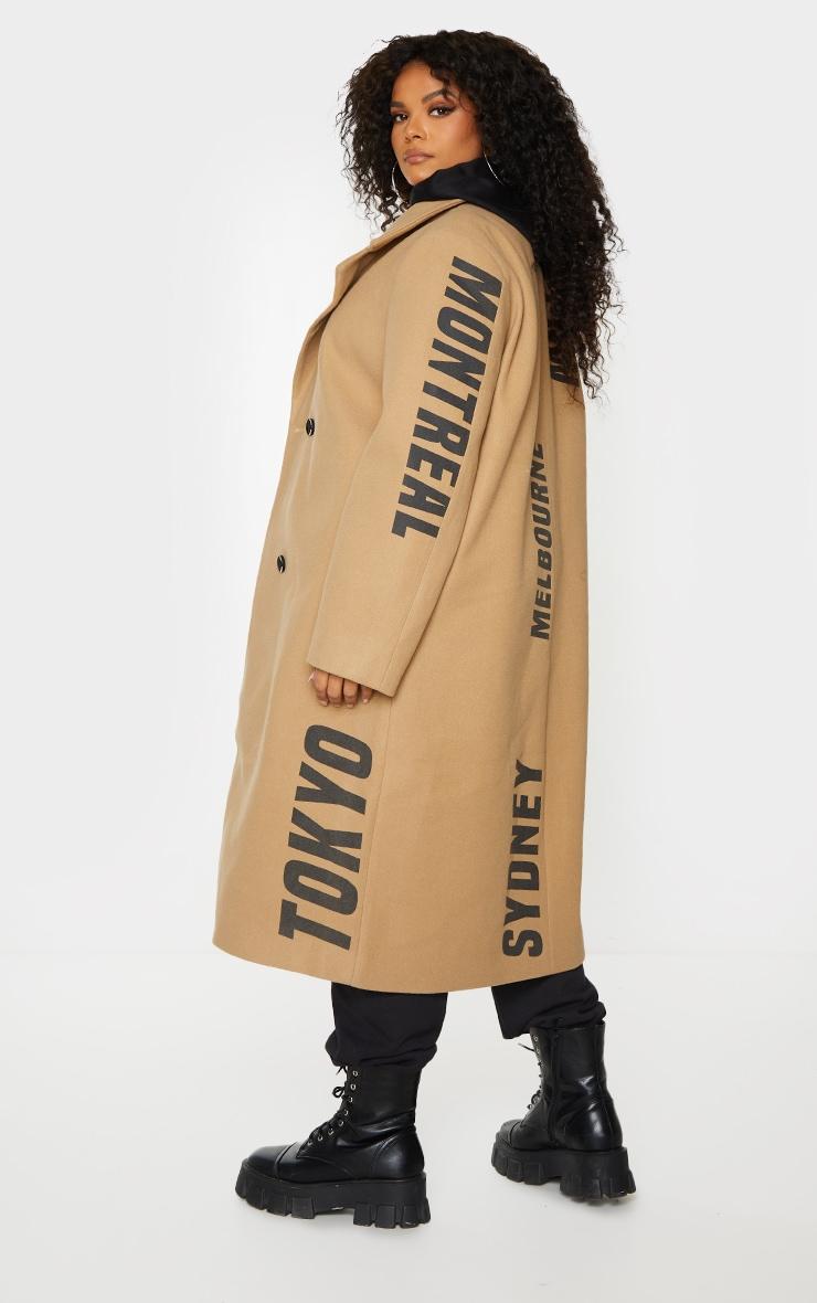 Plus Camel Long Line Printed Coat 2
