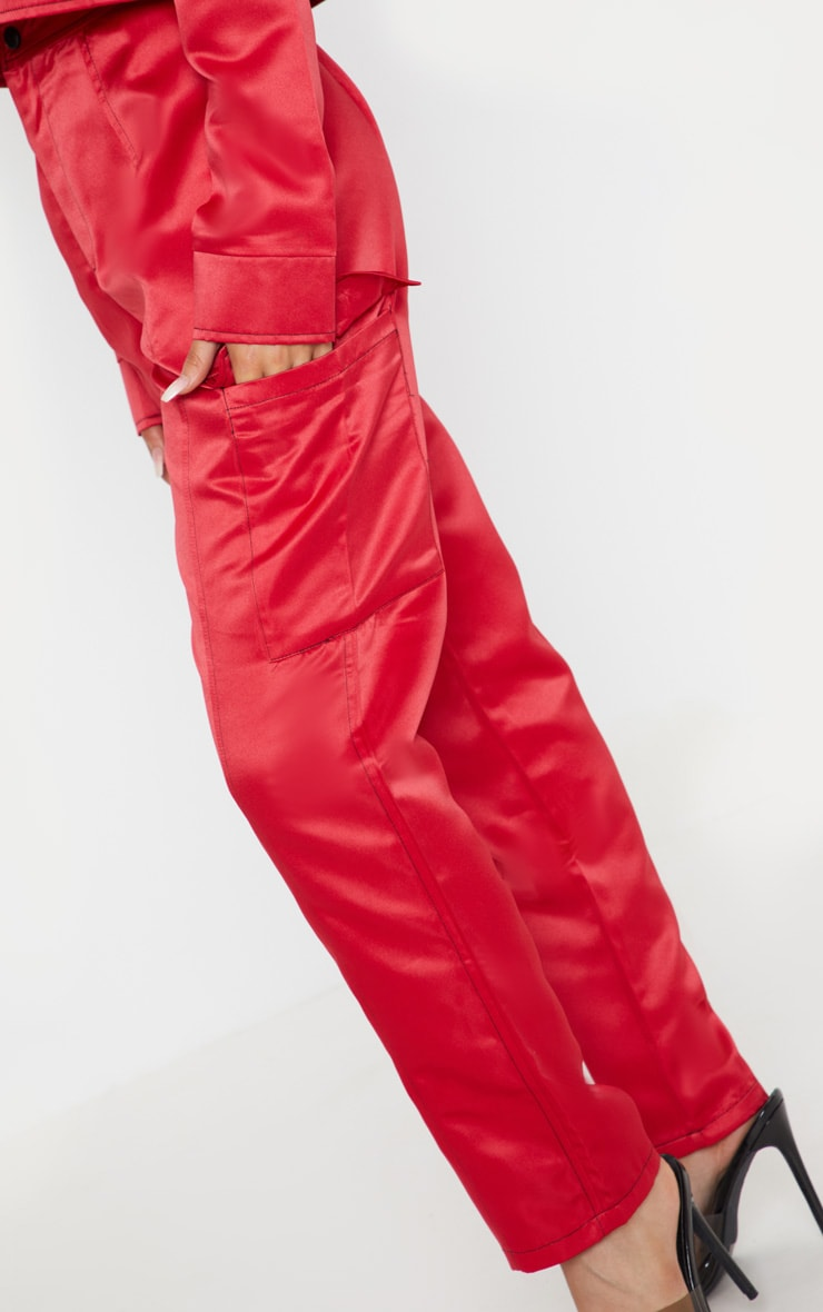 Red Contrast Stitch Pocket Detail Cargo Trouser 5