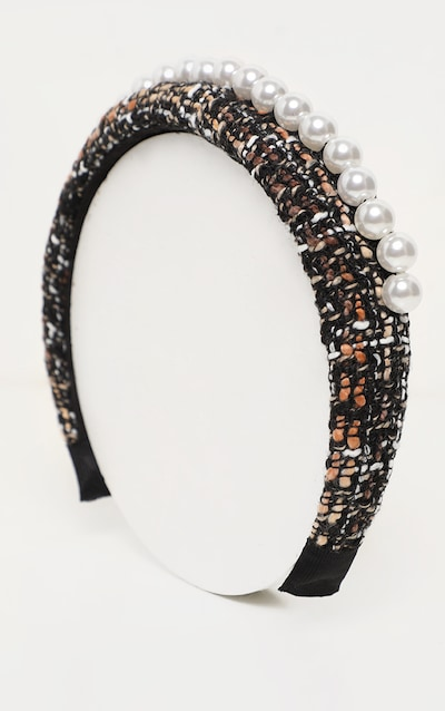 Black Tweed Pearl Embellished Chunky Headband