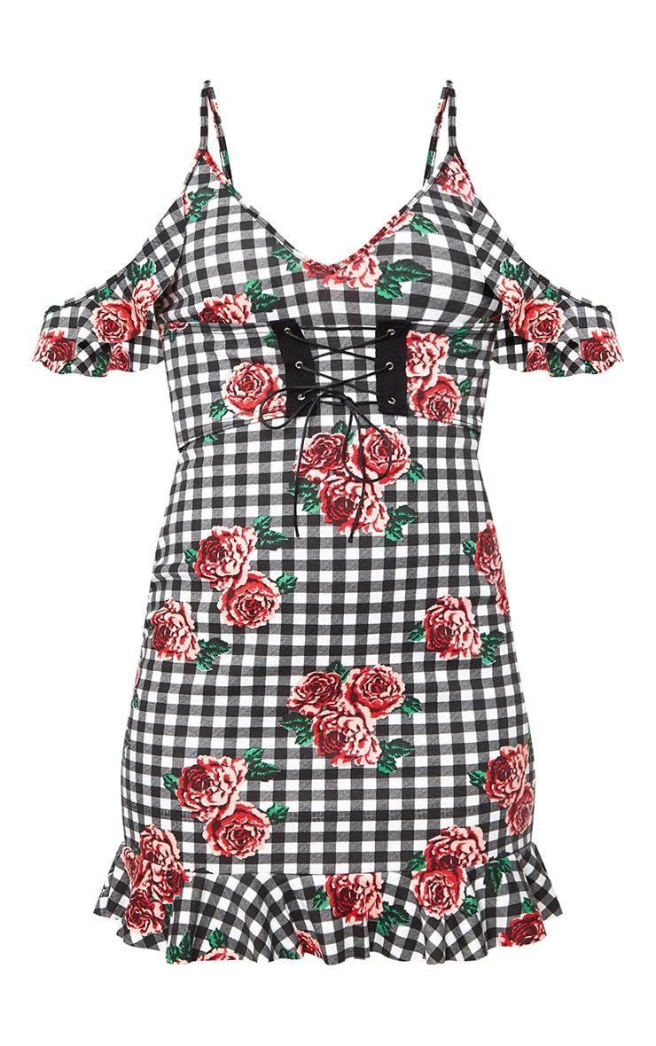 Black Floral Gingham Corset Detail Bodycon Dress  3