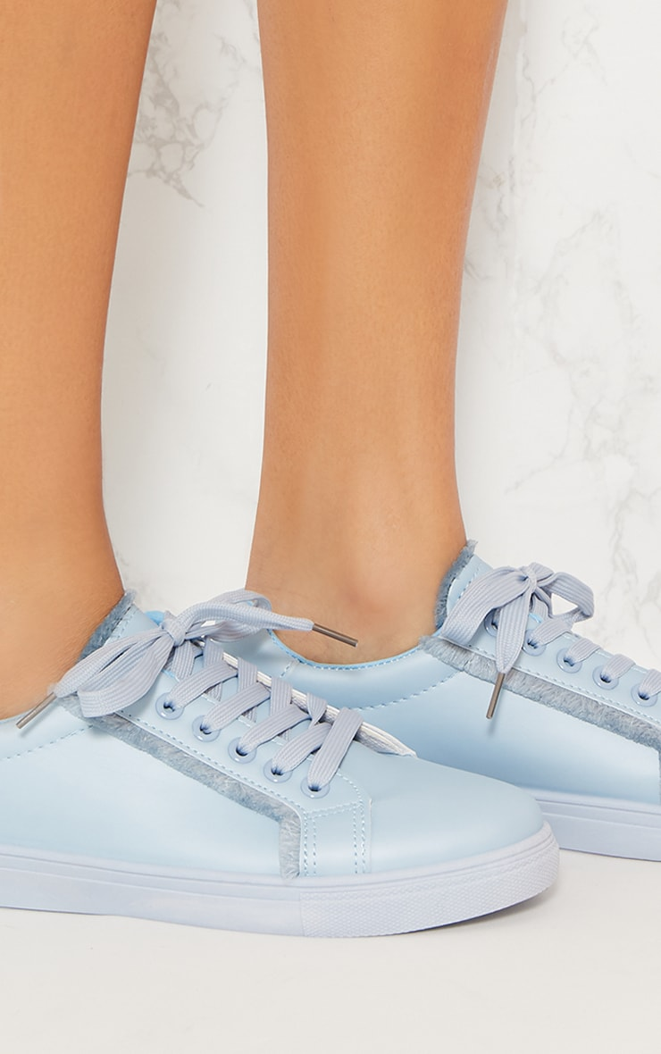 Dusty Blue Frayed Edge Lace Up Trainer 6