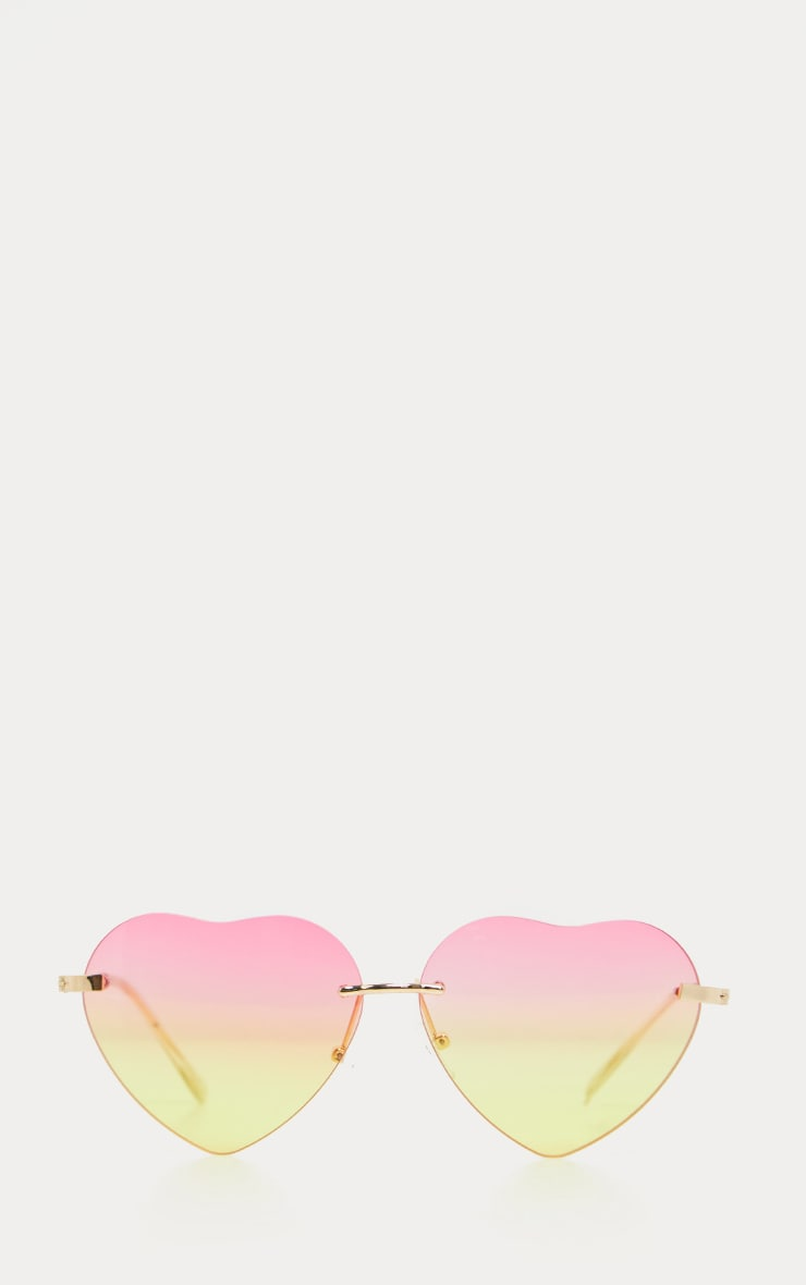 Pink And Yellow Fade Heart Shape Sunglasses 2