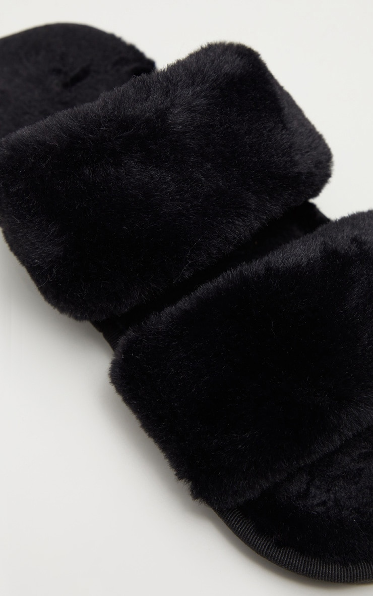 Black Fluffy Two Strap Slipper 4