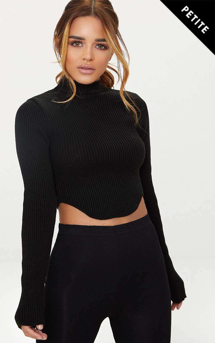 Petite Black High Neck Curve Hem Jumper 1