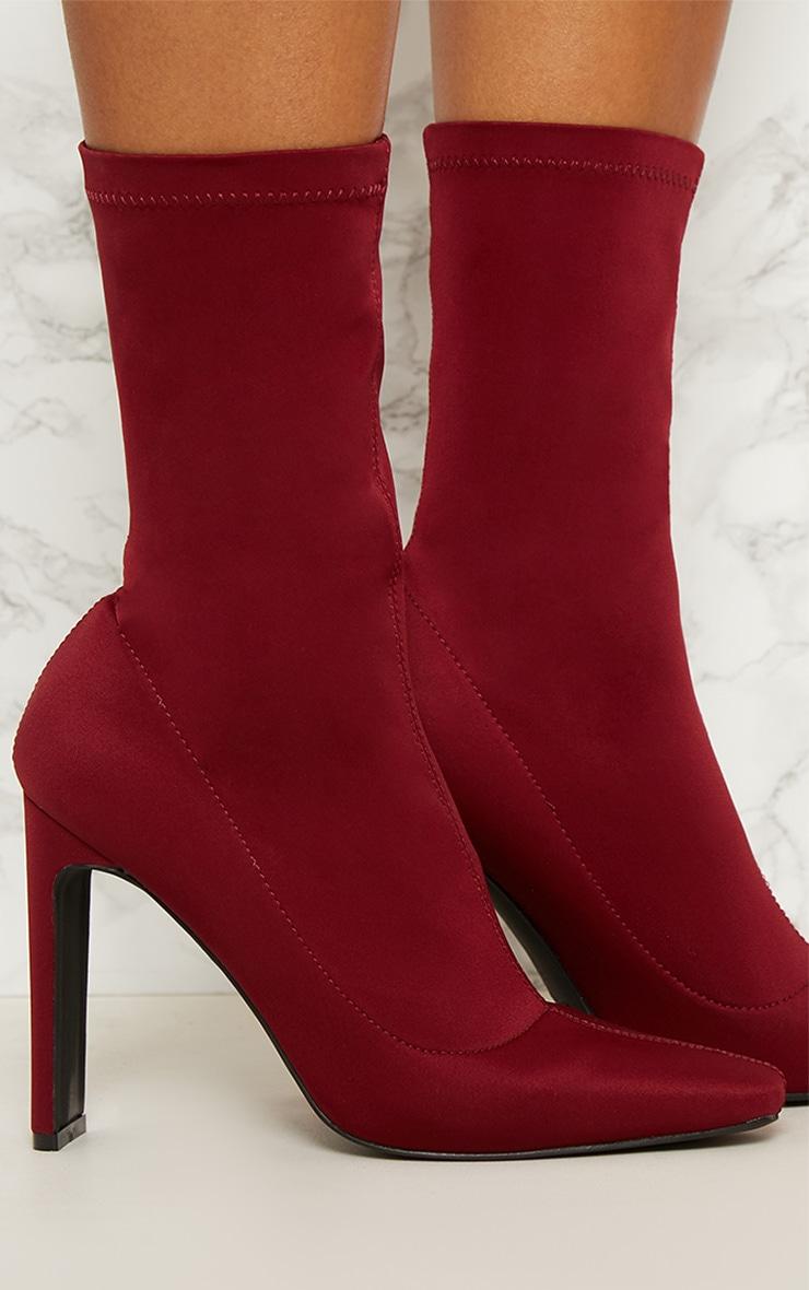 Burgundy Lycra Heeled Sock Boot 5