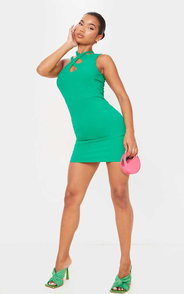 Green  Ribbed Crossed Strap Detail Bodycon Dress 3