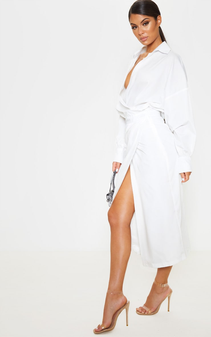 White Midi Shirt Dress 4