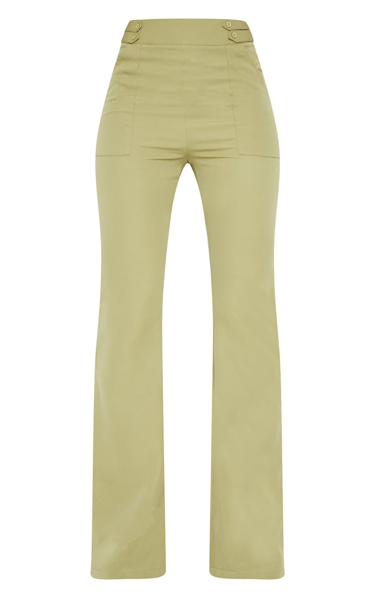 Sage Green Woven Double Button Detail Wide Leg Trousers 5