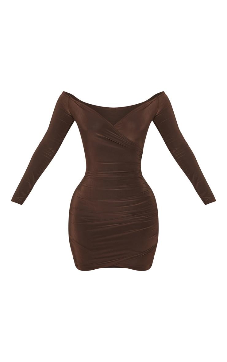 Shape Chocolate Slinky Ruched Detail bardot Dress 3