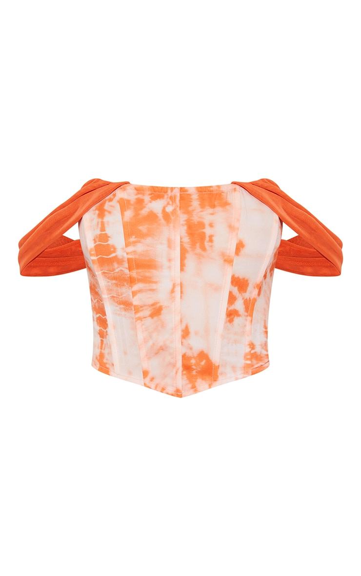 Orange Tie Dye Chiffon Strap Detail Dip Hem Corset 5