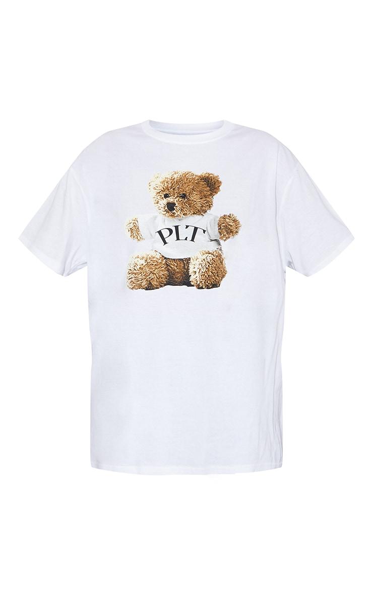 PRETTYLITTLETHING Cream Teddy Print T Shirt 5