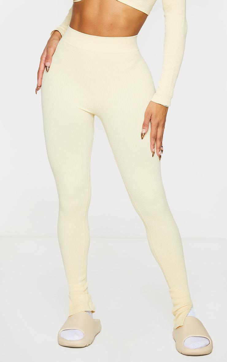 Shape Cream Contour Ribbed Split Hem Leggings 2