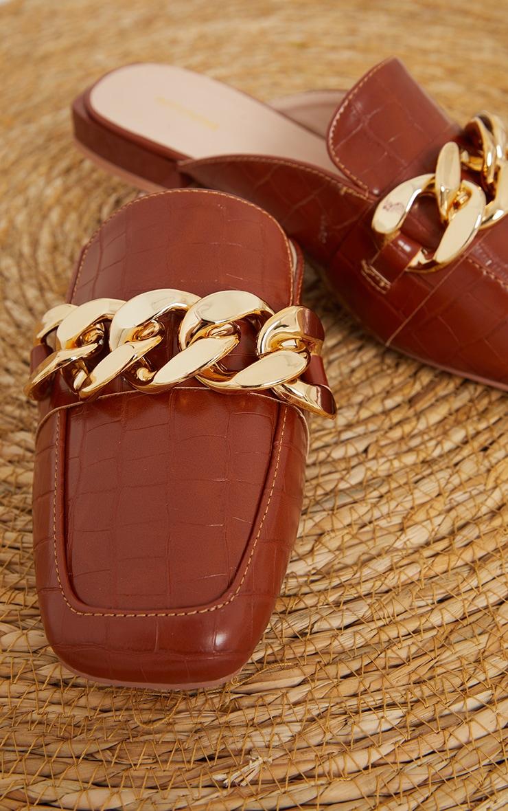 Tan PU Croc Chain Detail Mules 4