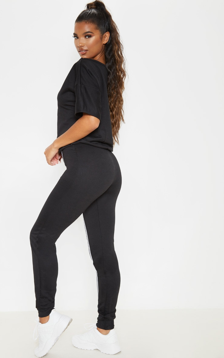 Black Loop Back Sports Stripe Jumpsuit 2
