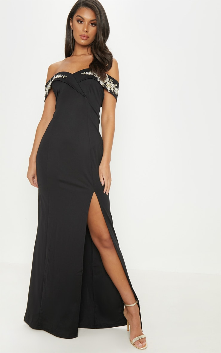 Black Applique Detail Bardot Maxi Dress 1