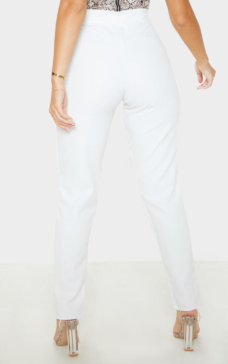 Pantalon skinny en maille tissée blanche à poches 4