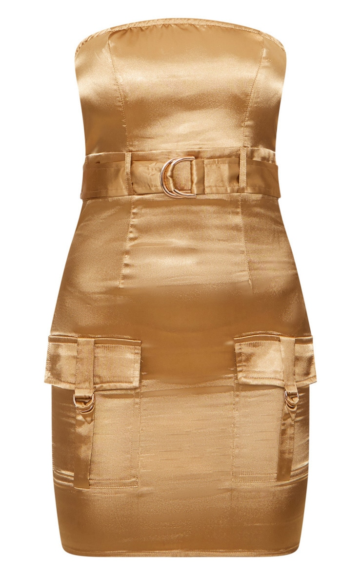 Camel Satin Utility Bandeau Bodycon Dress 3