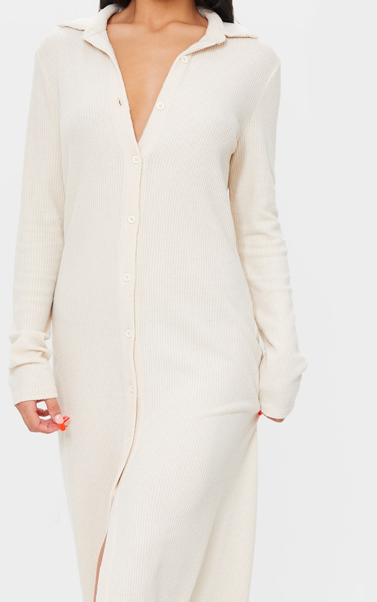 Stone Brushed Rib Button Up Collar Detail Maxi Dress 4