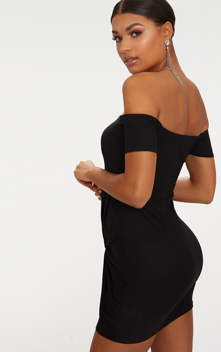 Black Bardot Twist Detail Bodycon Dress 2