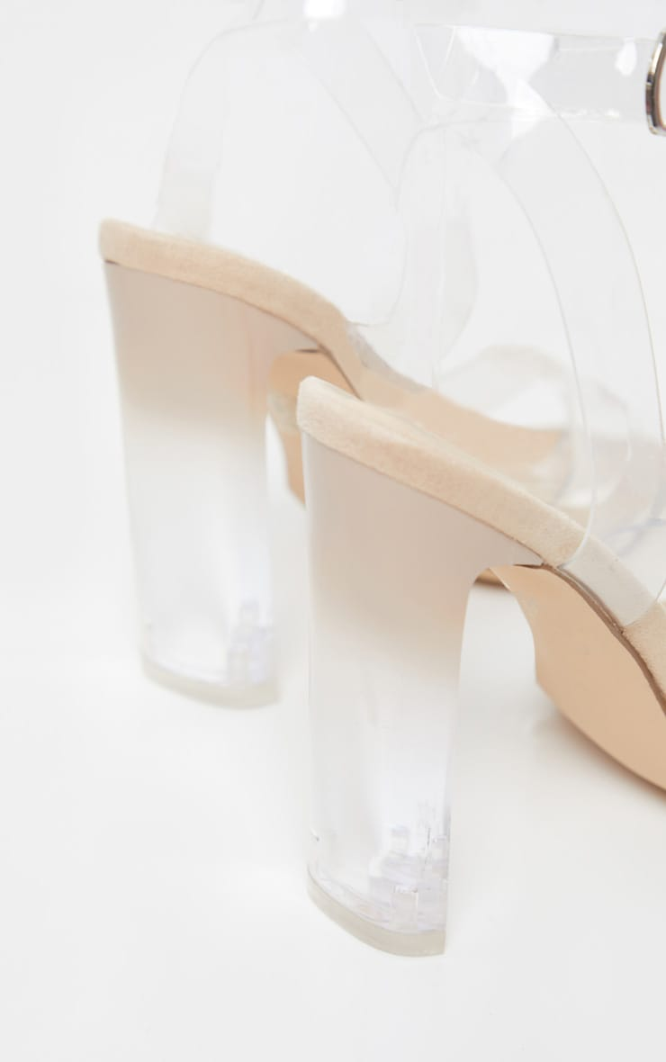Sandales carrées nude à talons 4