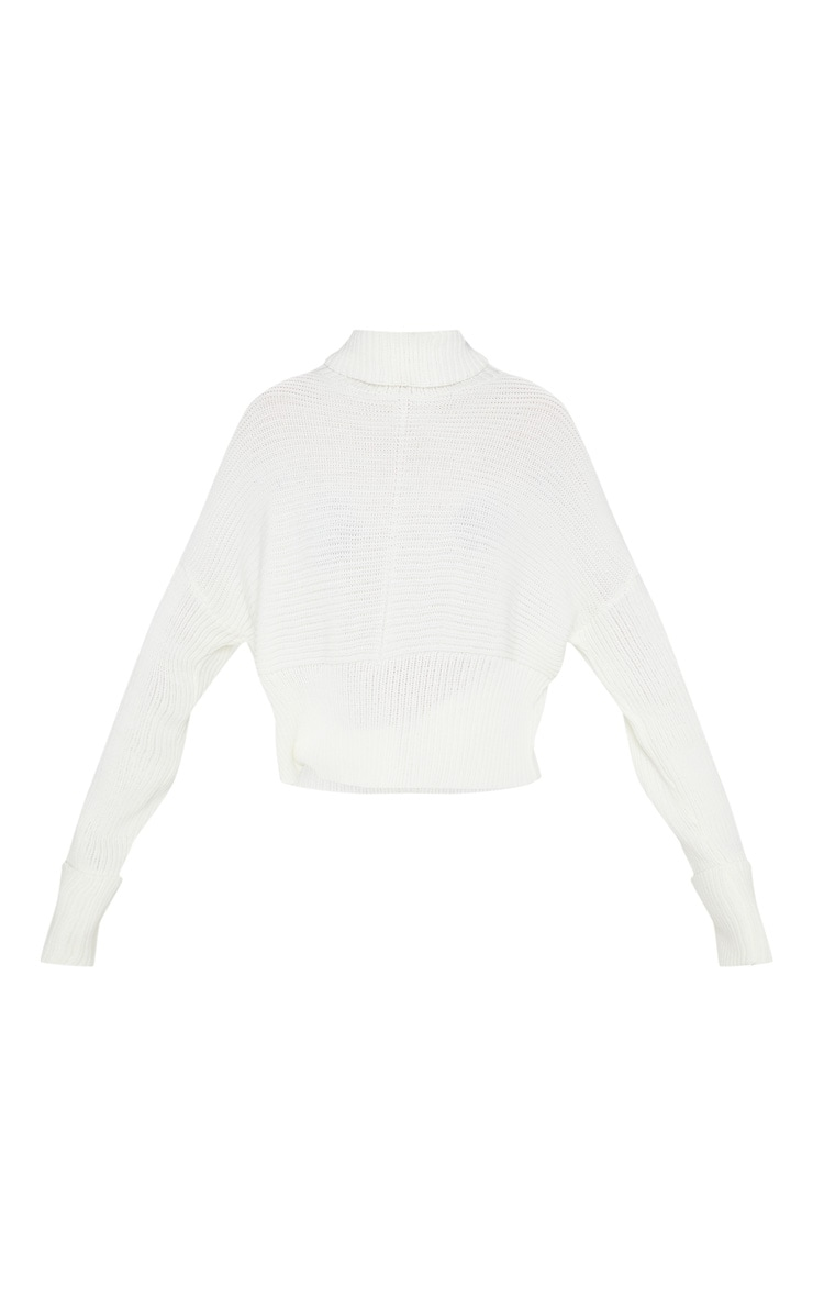 Cream Chunky Ribbed High Neck Knitted Jumper  3