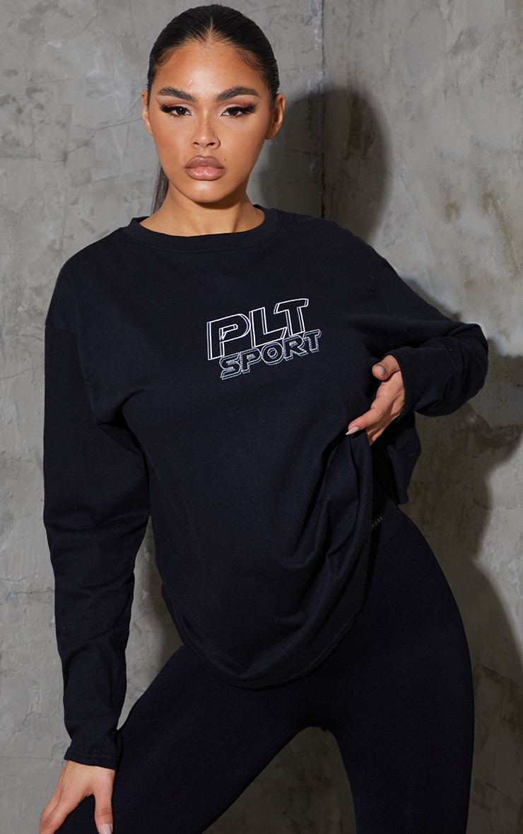 PRETTYLITTLETHING Black Long Sleeve Oversized Sports Top 1