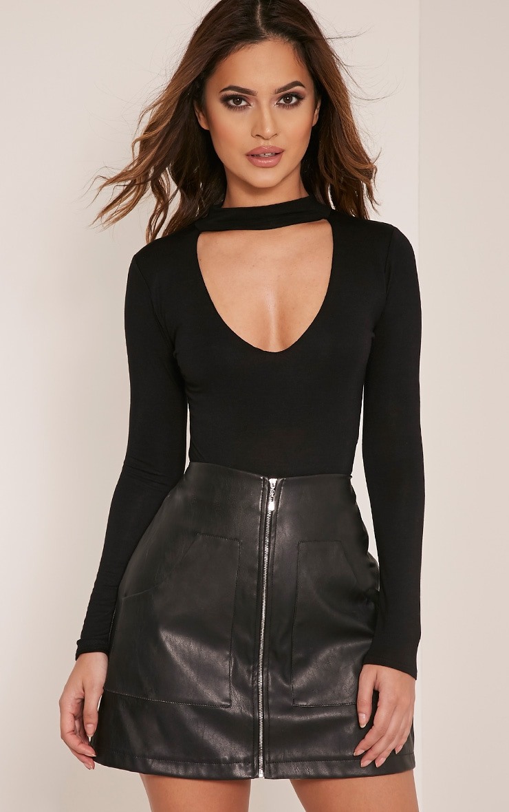 Zena Black Cut Out Neck Long Sleeve Jersey Bodysuit 1