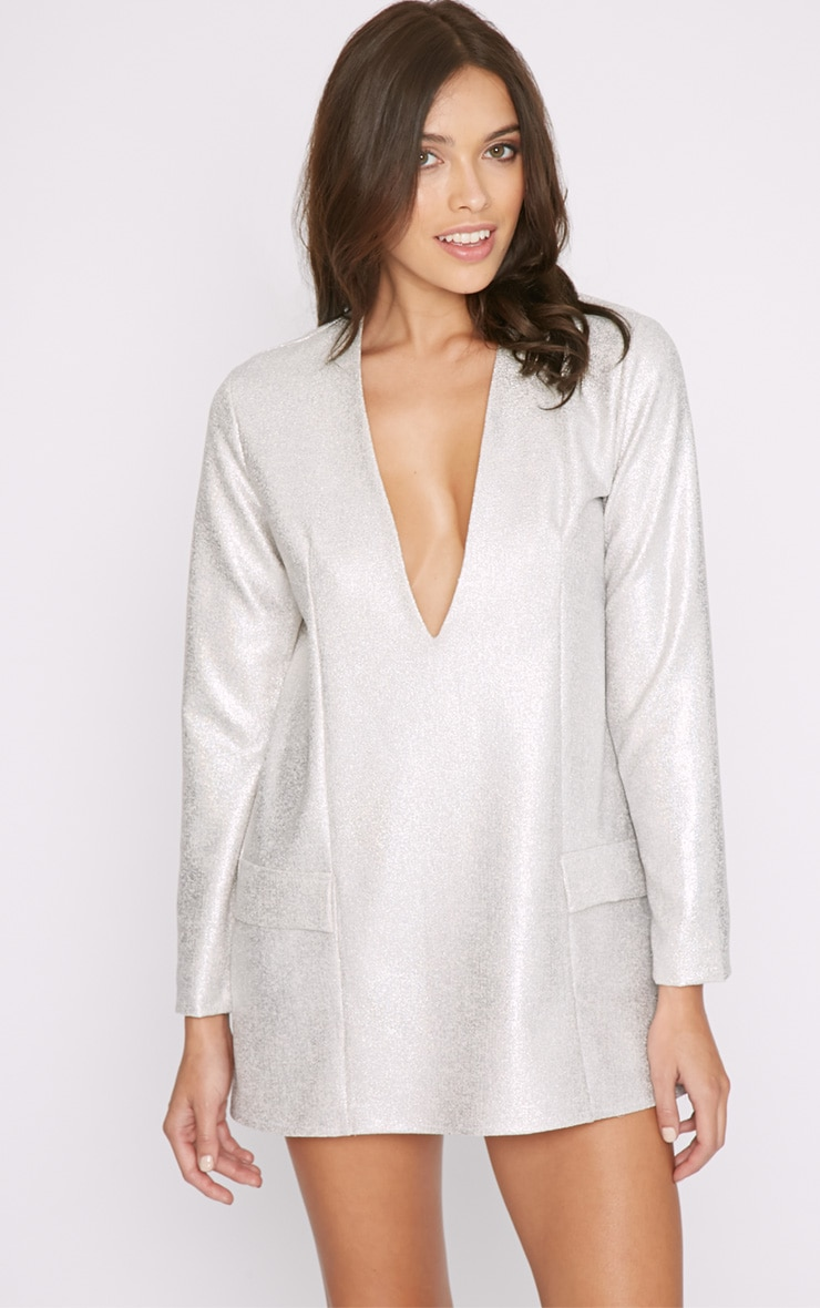 Jemima Silver Iridescent Blazer Dress 5