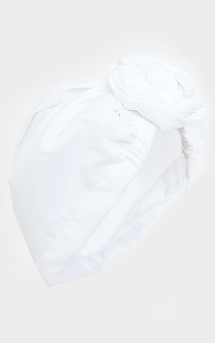 White Woven Knot Front Head Scarf 2
